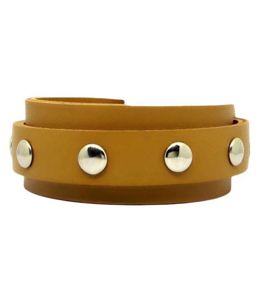 GoldNera Adjustable Buckle Leather Bracelet For Men & Boys