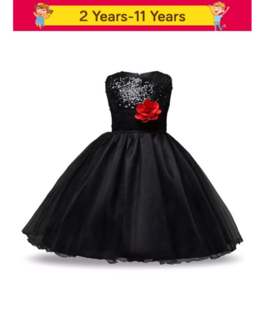 Sofyana Black Satin Girl Birthday Party Wear Dress girl frock Birthday Party dress kids Party wear dress