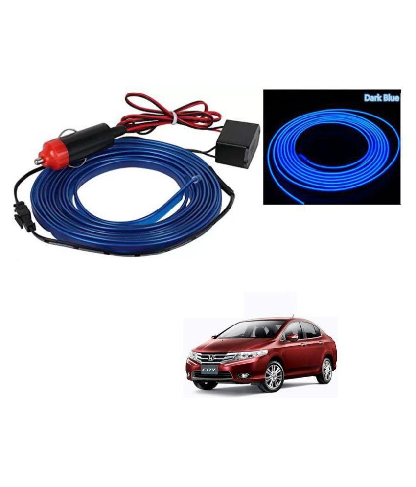 Auto Addict Blue Color 12V 5Mtrs Roll Cold Light Car Socket Strip Neon Lamp EL Wire Decor Interior Lighting For Honda City Ivtec(2010-2014)