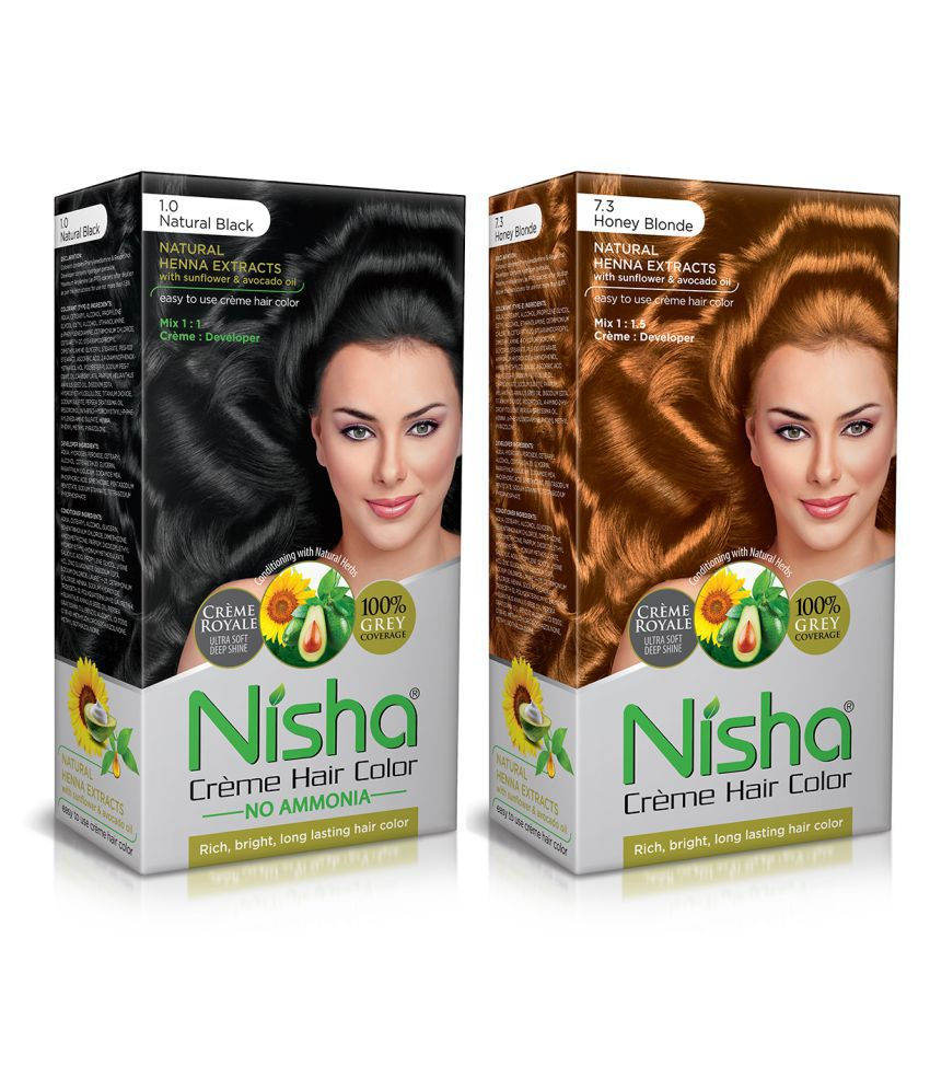 Nisha (60gm, 60ml, 12ml) Cream Each Pack Permanent Hair Color Blonde Natural black 1 & Honey Blonde 7.3 120 mL Pack of 2