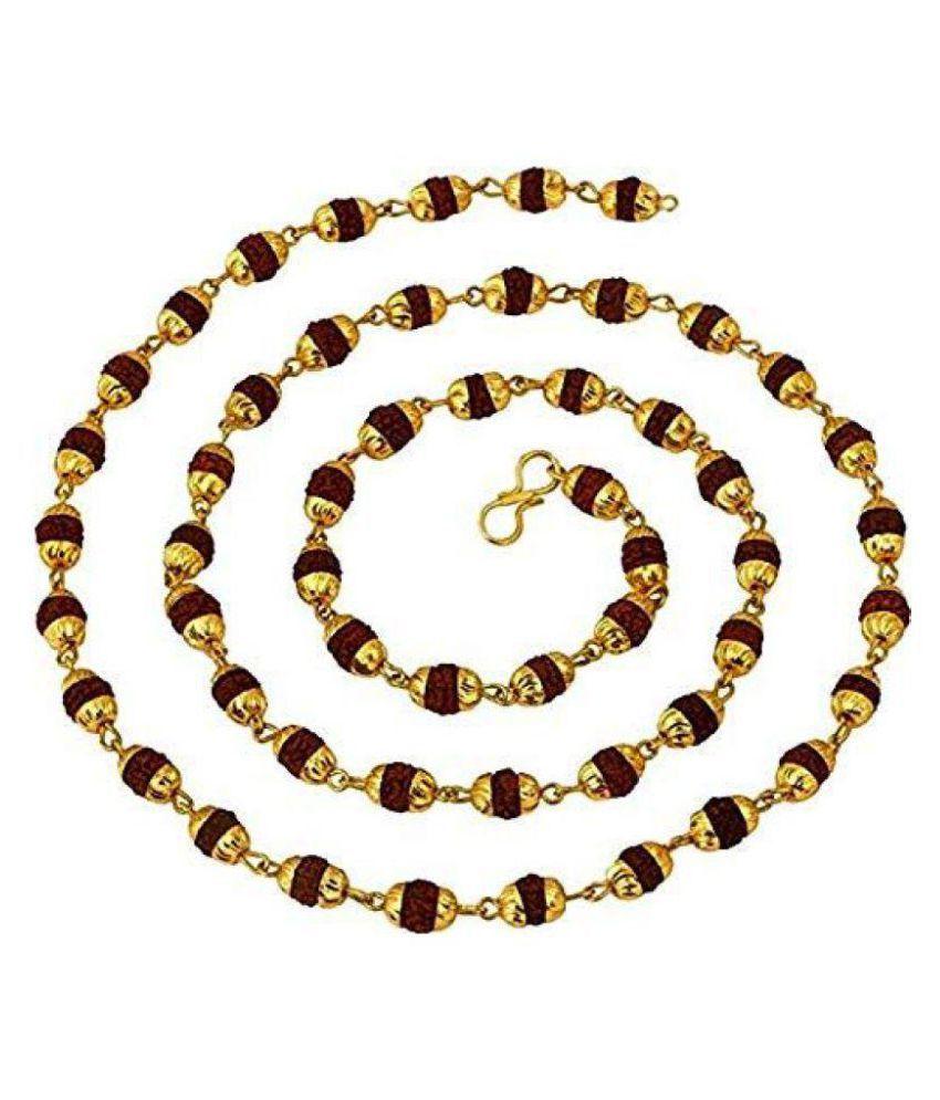 Malabar Gems Rudraksha 54+1 Beads Original Rosary with Golden Cap Hindu Meditation Yoga Mala
