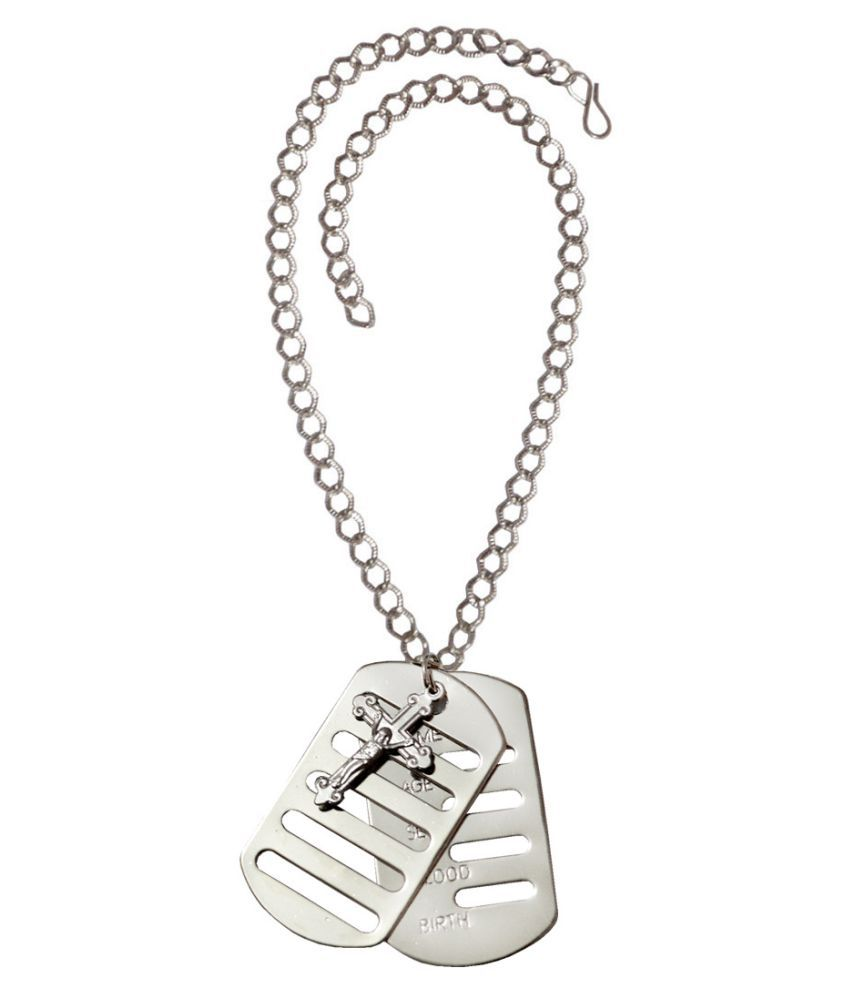 Men Style  Jesus Cross Name Dual Plates Military Army Style Cool Stainless Steel, Alloy Pendant