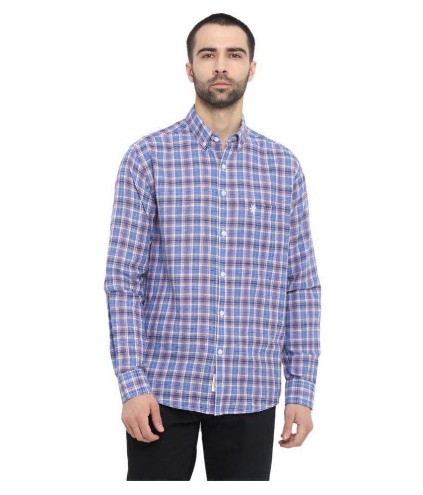Red Tape Cotton Blend Blue Checks Shirt