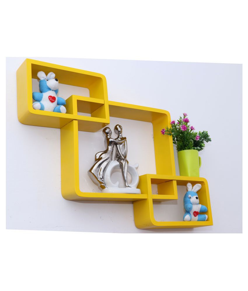 WOOD WORLD Floating Shelves Yellow MDF - Pack of 1