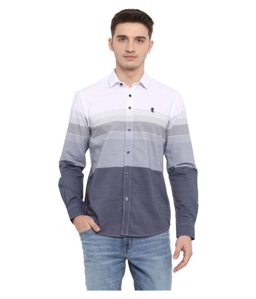 Red Tape Cotton Blend White Stripes Shirt
