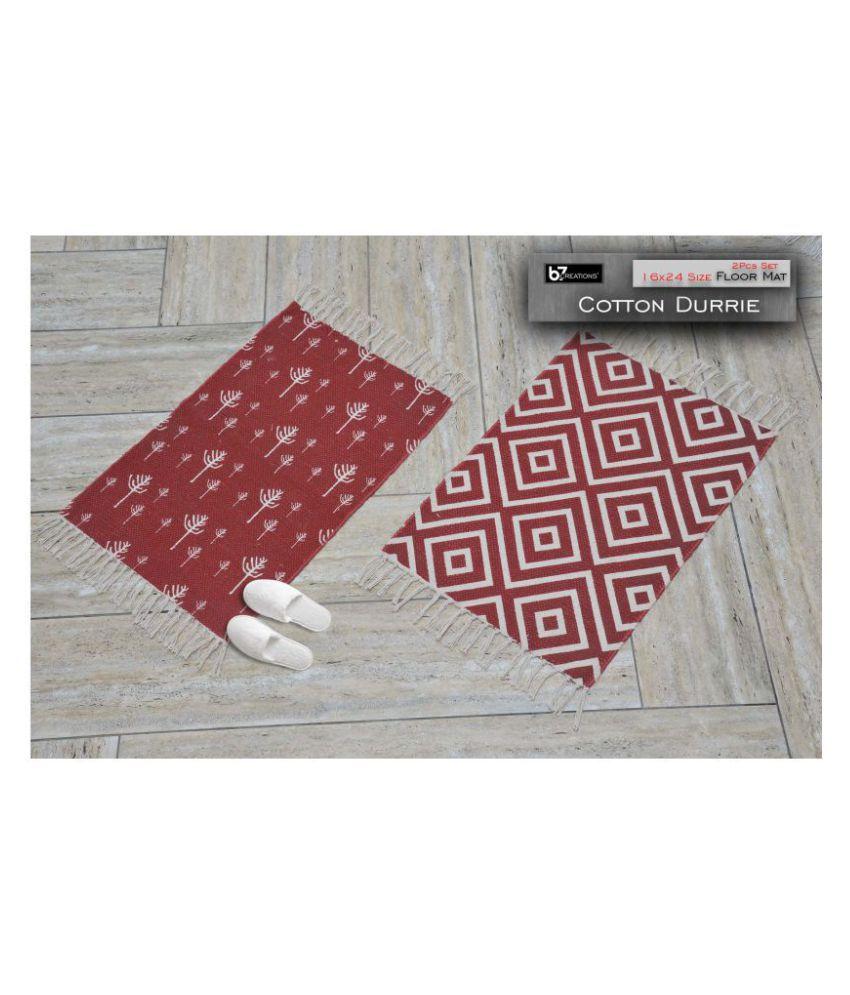 B7 CREATIONS Red Set of 2 Anti-skid Floor Mat