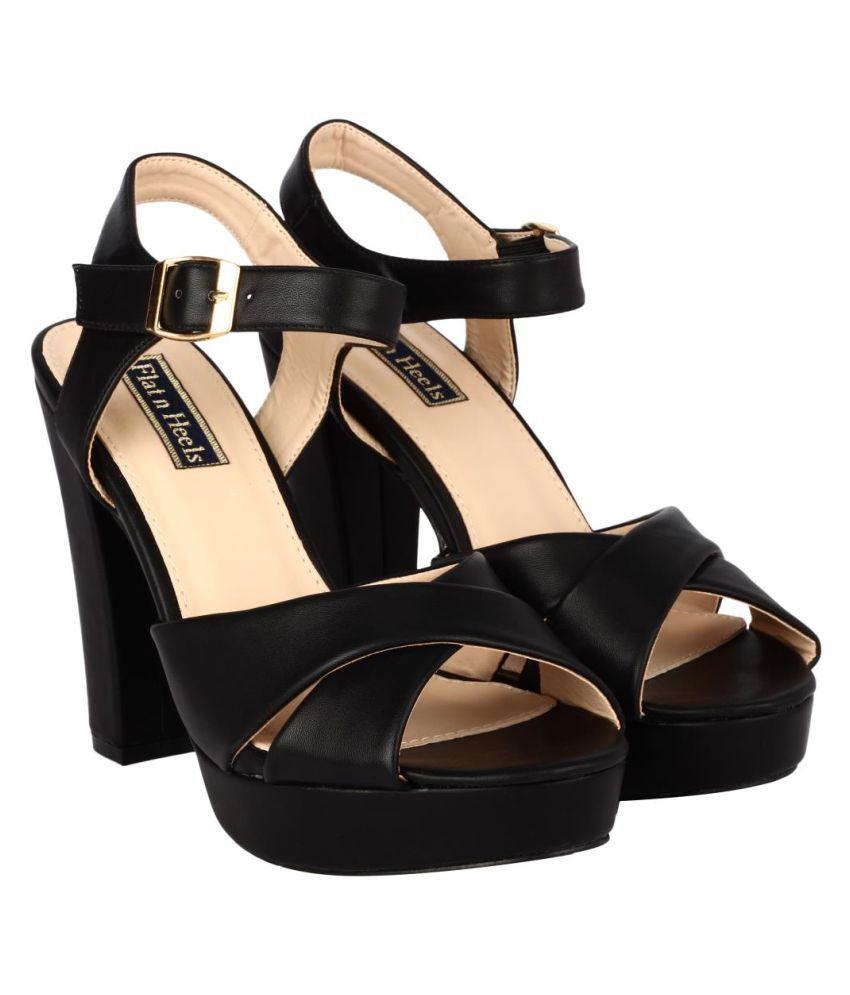 Flat N Heels Black Block Heels