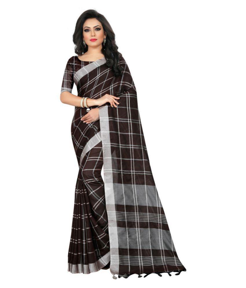 offline selection Black Linen Saree