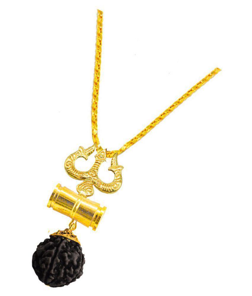 Men Style  Lord Shiva Trishula Damaru Locket With With Chain Gold-plated Beads Brass, Wood Pendant Set