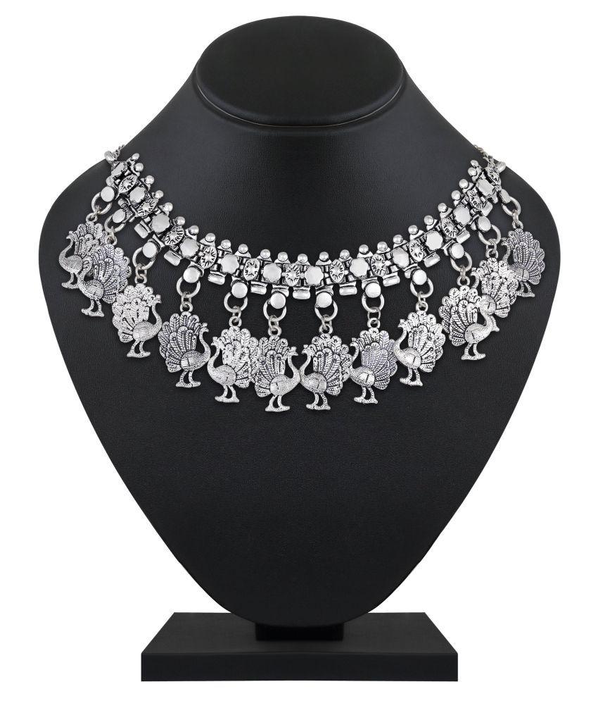Asmitta Jewellery Brass Silver Choker Contemporary/Fashion Oxidised Necklace