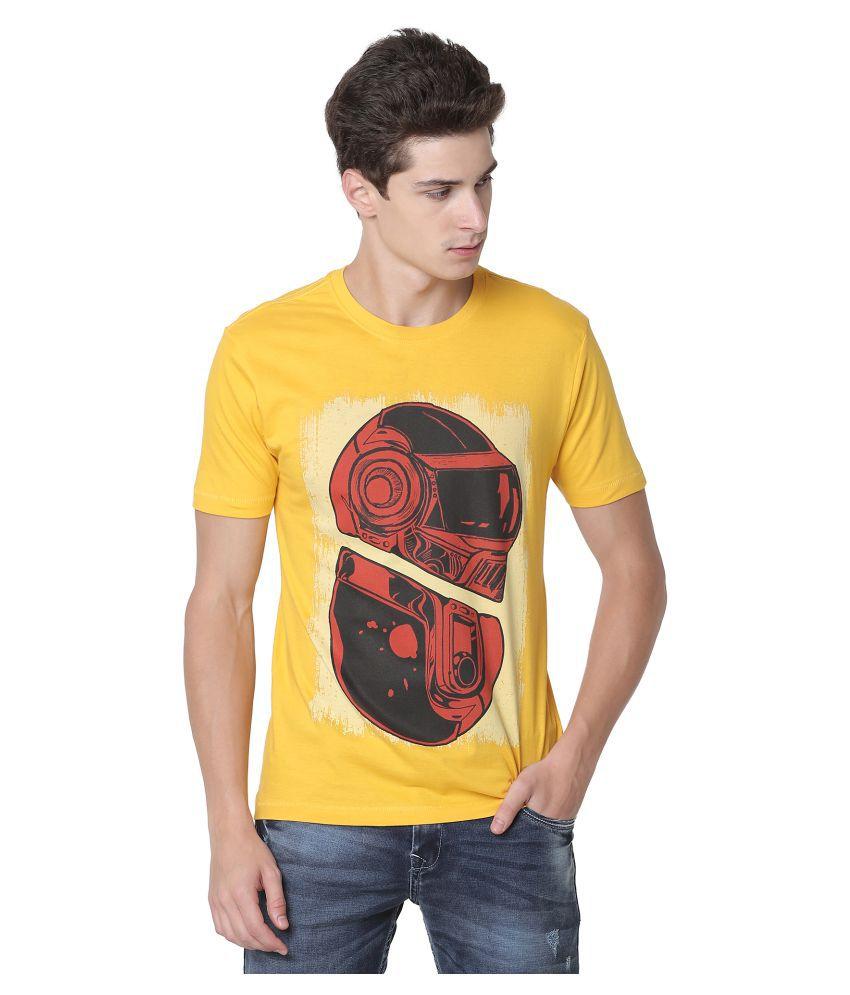 Newport 100 Percent Cotton Gold Printed T-Shirt