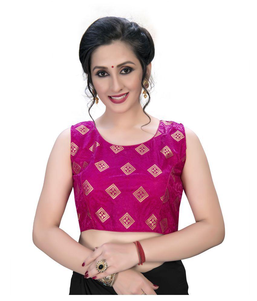 Amrutam Fab Pink Jacquard Semi Stitched Blouse