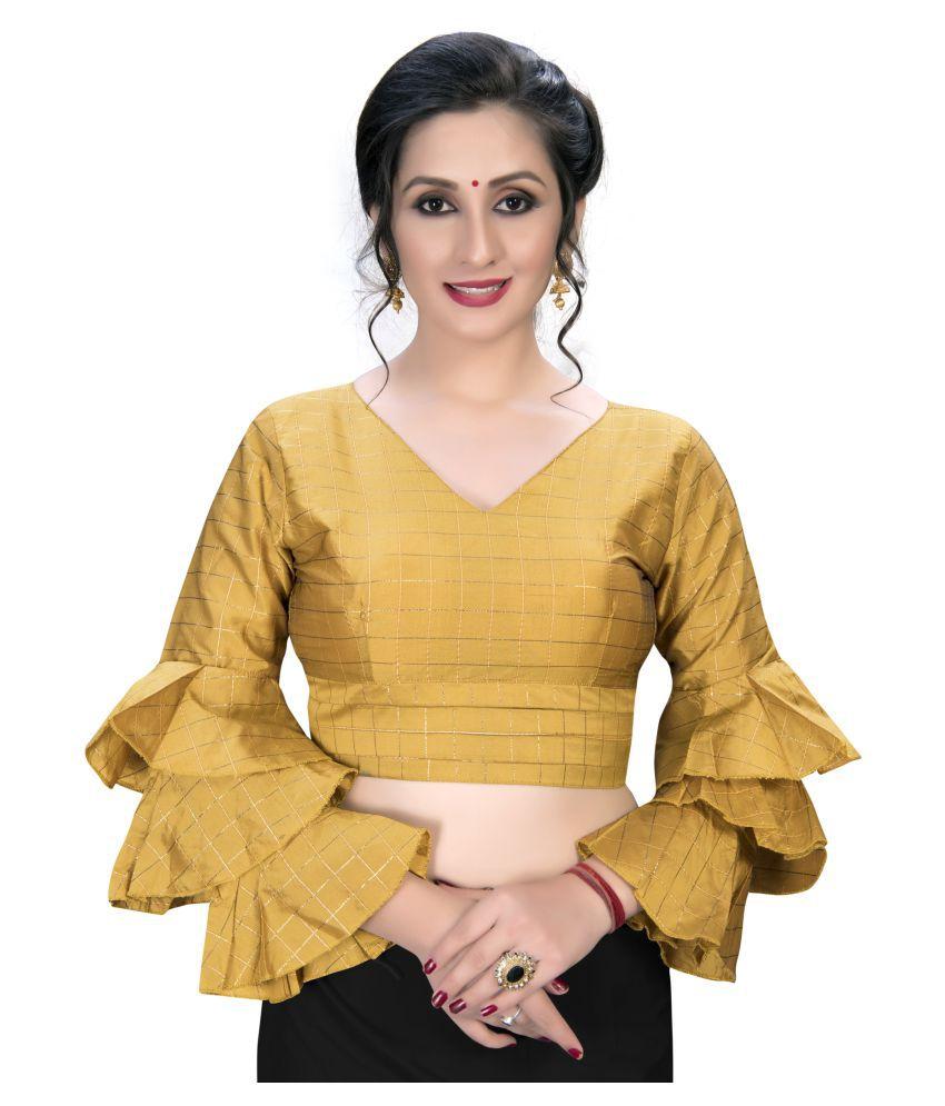 Amrutam Fab Yellow Silk Semi Stitched Blouse
