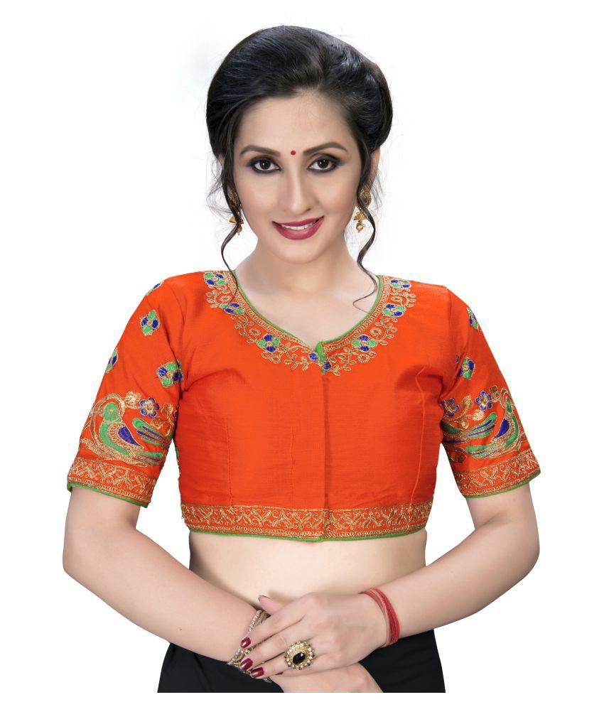 Fab Dadu Orange Silk Semi Stitched Blouse
