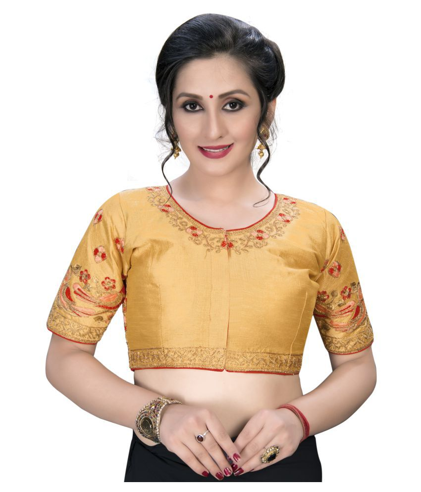 Shubh Sanidhya Beige Silk Semi Stitched Blouse