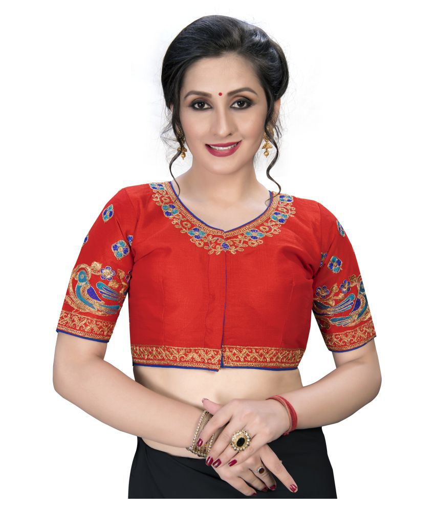 Shubh Sanidhya Red Silk Semi Stitched Blouse