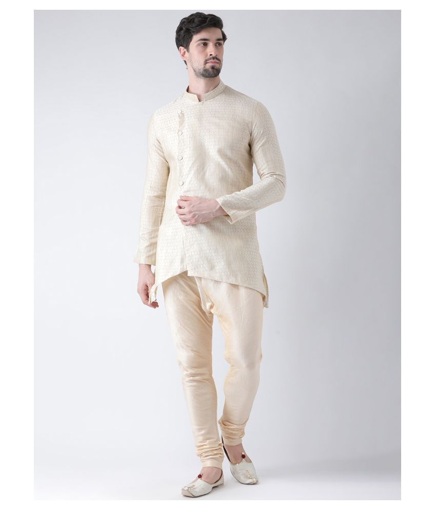Deyann Cream Cotton Kurta Pyjama Set