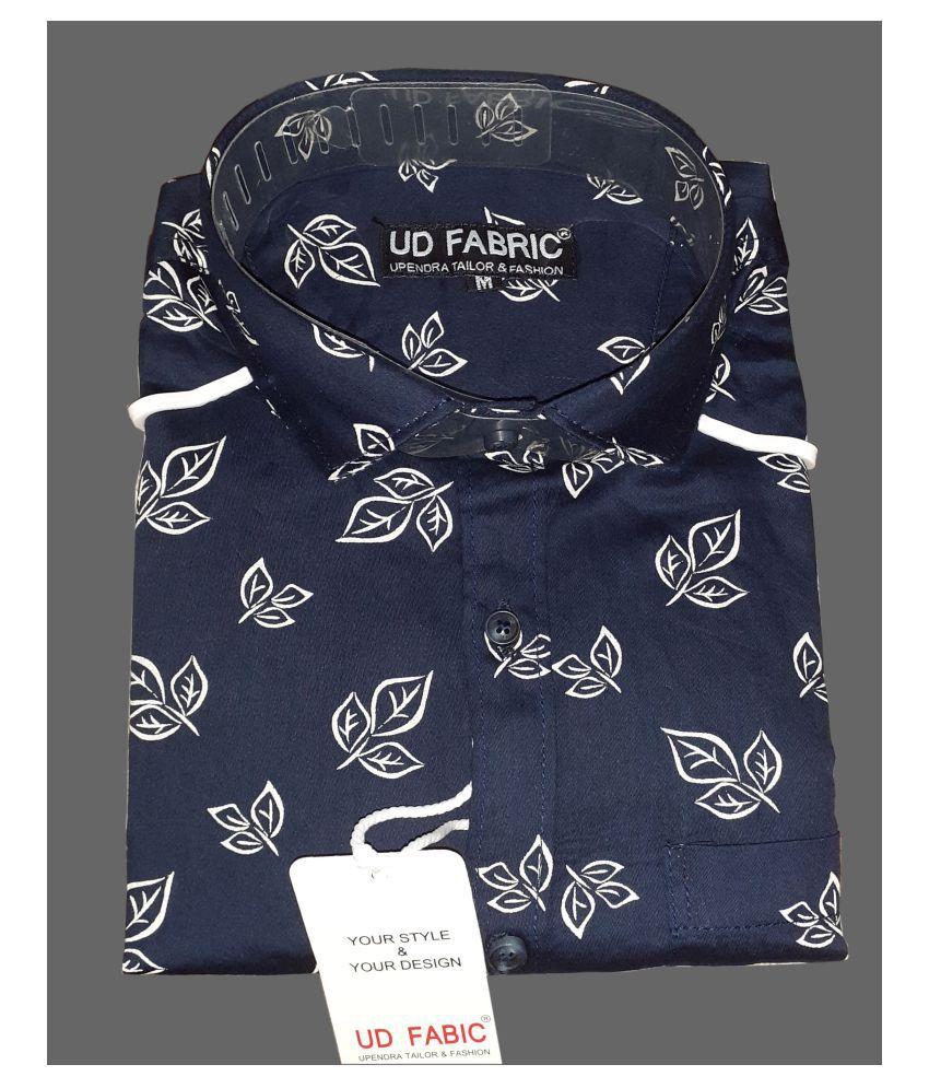Ud Fabic Satin Blue Prints Shirt