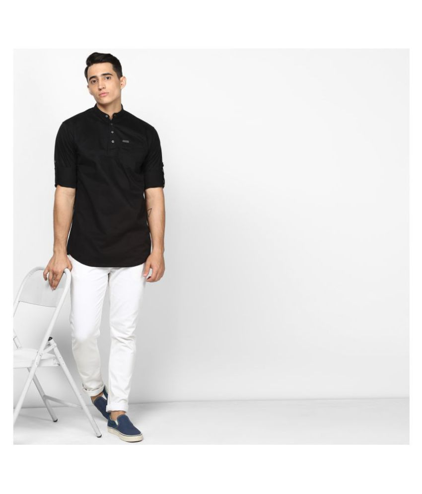 Urbano Fashion 100 Percent Cotton Black Solids Shirt