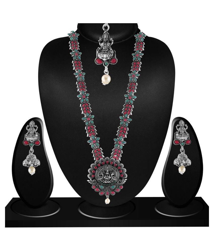 Matushri Art Alloy Silver Long Haram Traditional Silver Plated Necklaces Set