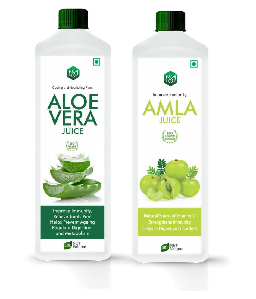 Scorlife Aloe Vera Juice 1000ml. & Amla Juice 1000ml. Sugar Free Health Drink 1000 ml Pack of 2