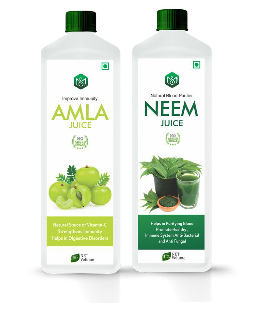 Scorlife Amla Juice 1000ml. & Neem Juice 1000ml. Sugar Free Health Drink 1000 ml Pack of 2