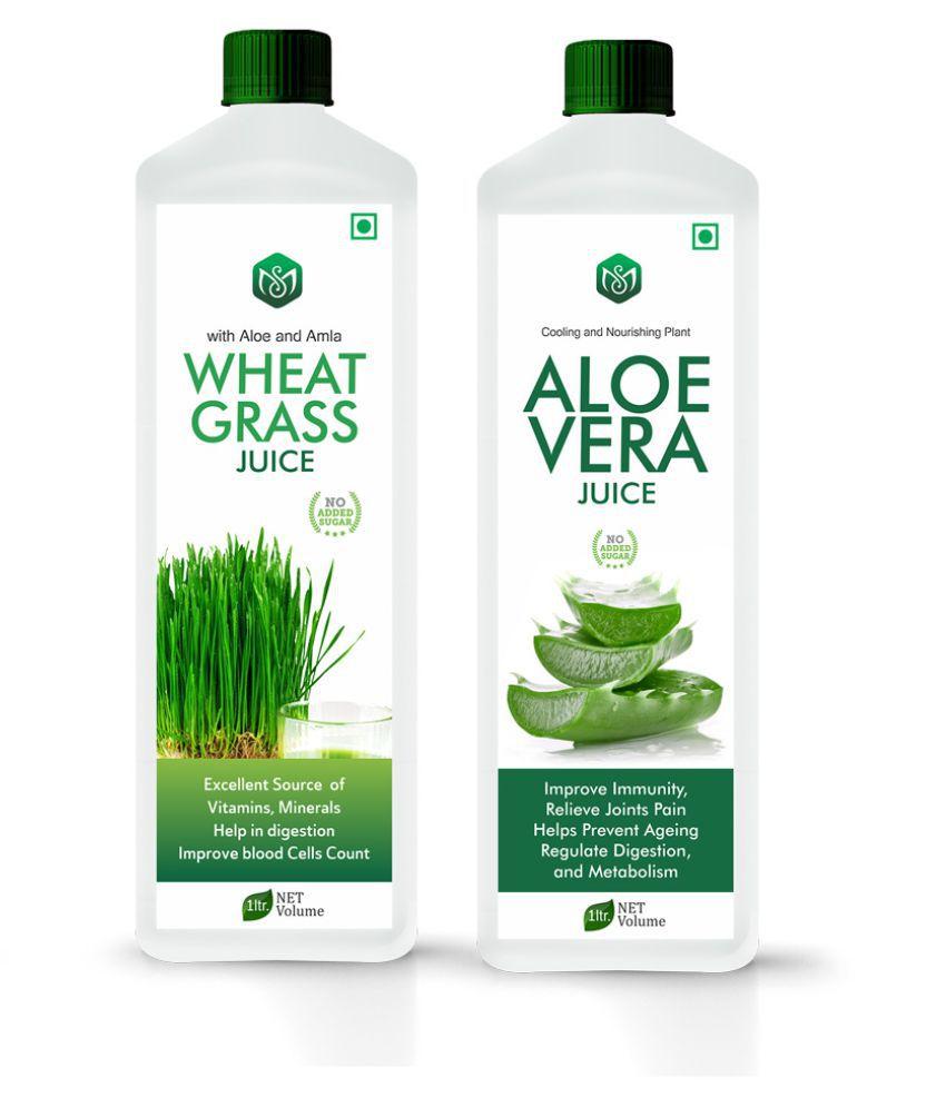 Scorlife Wheatgrass Juice 1000ml. & Aloe Vera Juice 1000ml. Sugar Free Health Drink 1000 ml Pack of 2