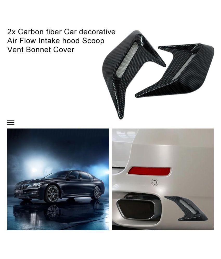 Carbon Fiber Look Car Decorative Air Intake Flow Hood Bonnet Scoop Vent Cover