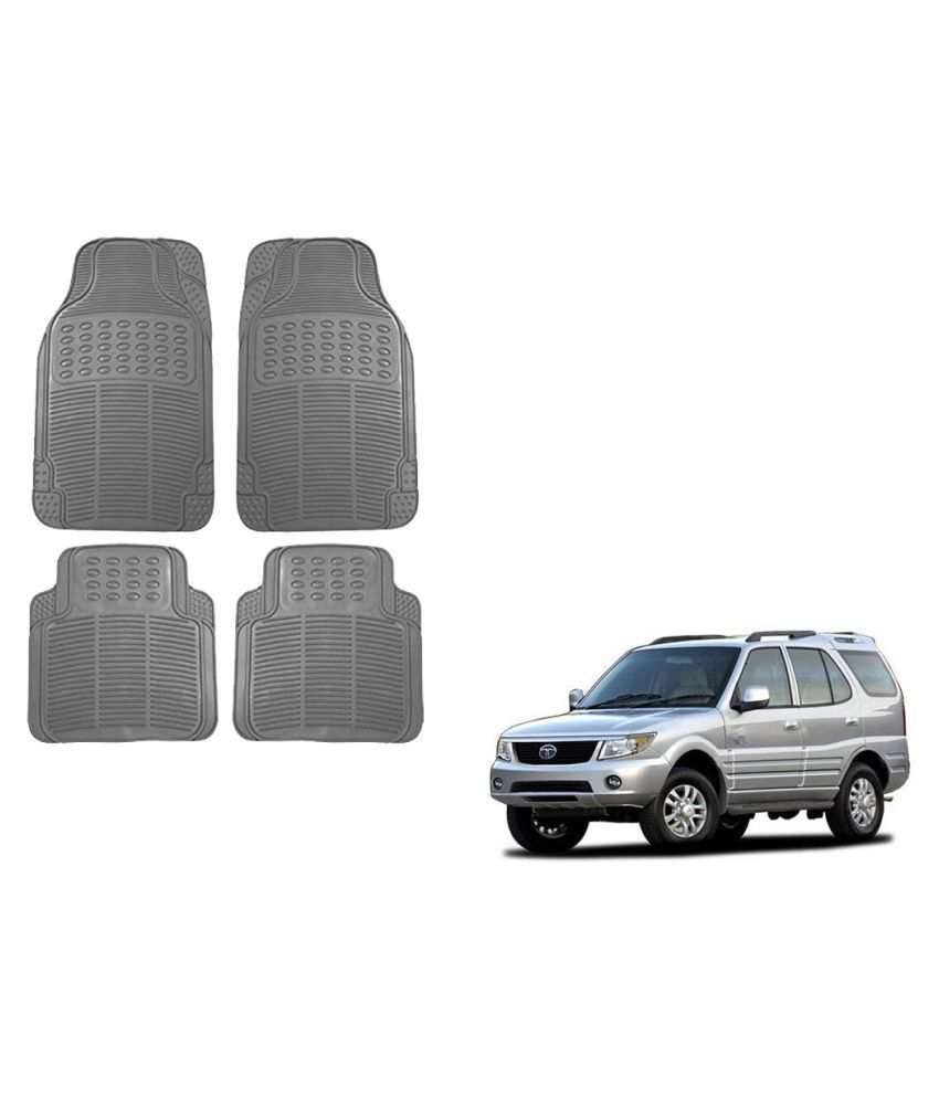 Auto Addict Car Simple Rubber Grey Mats Set of 4Pcs For Tata Safari