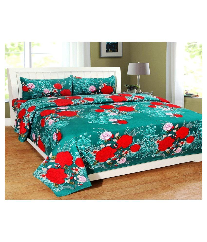 Shaphio Microfibre Double Bedsheet with 2 Pillow Covers