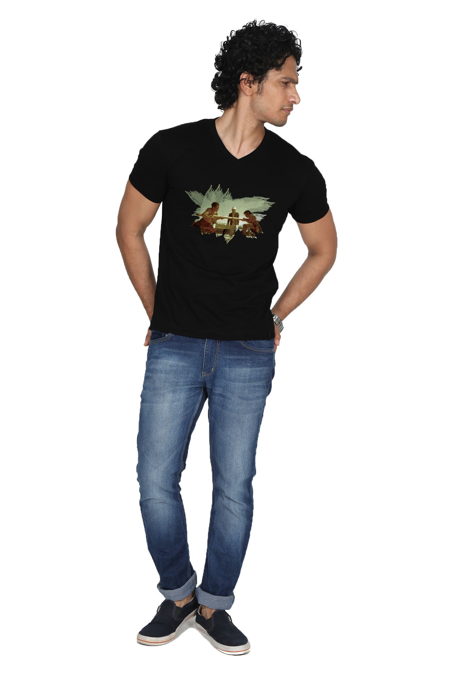 Oviyon 100 Percent Cotton Black Printed T-Shirt