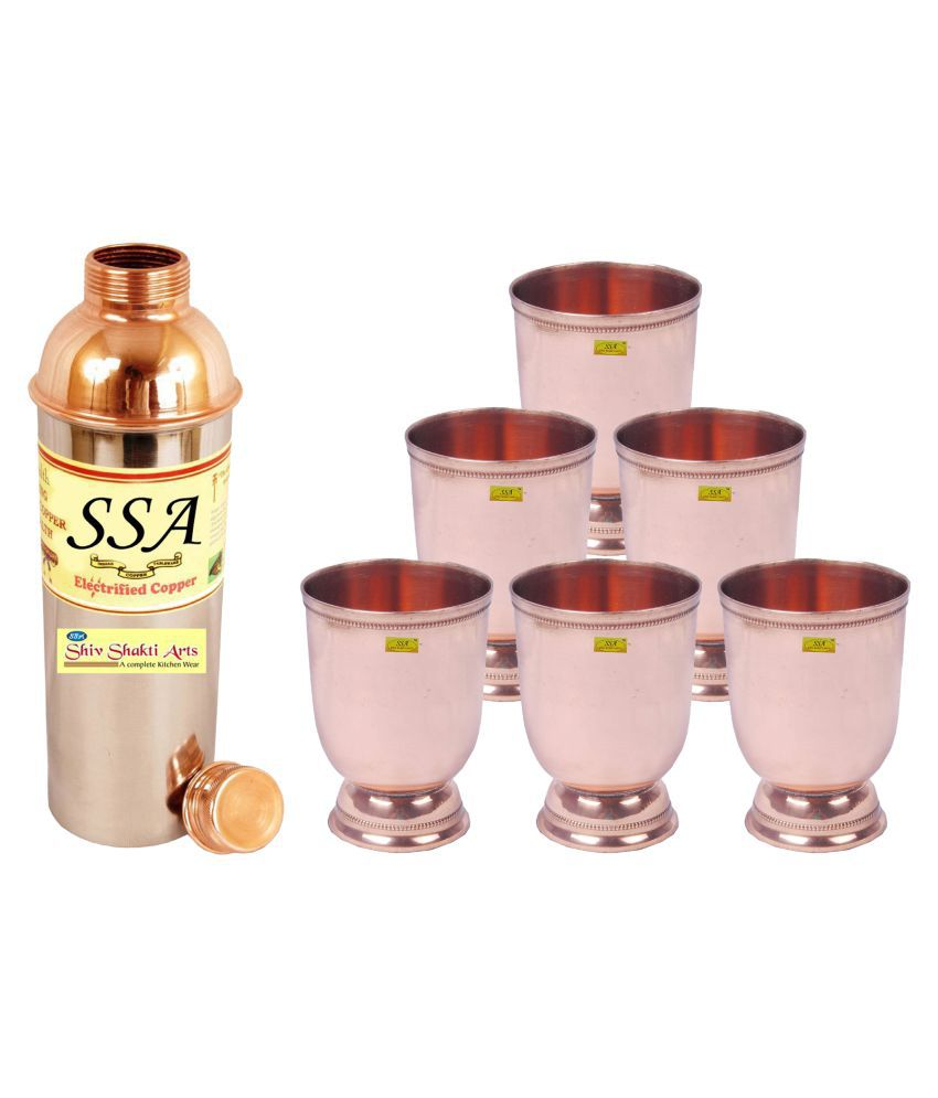 Shiv Shakti Arts Bottle & Glasses Set 7 Pcs Lemon set