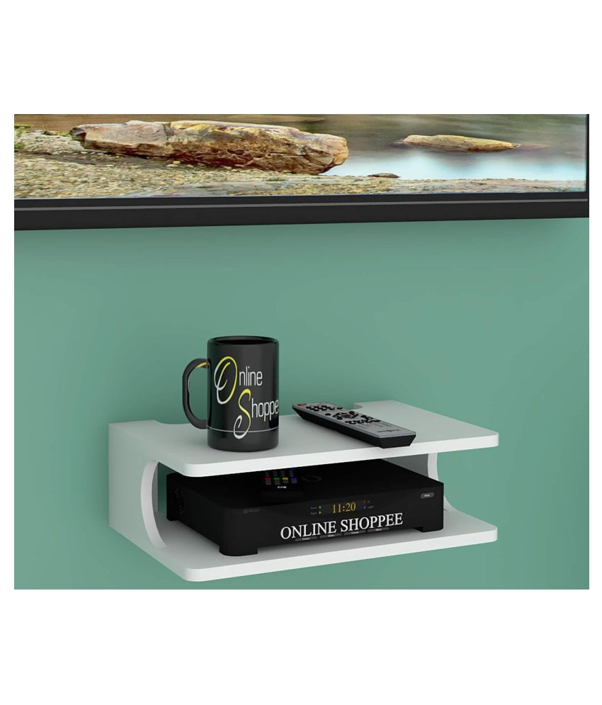 Onlineshoppee MDF Beautiful Design Set top box Wall Shelf (Number of Shelves - 2, White)