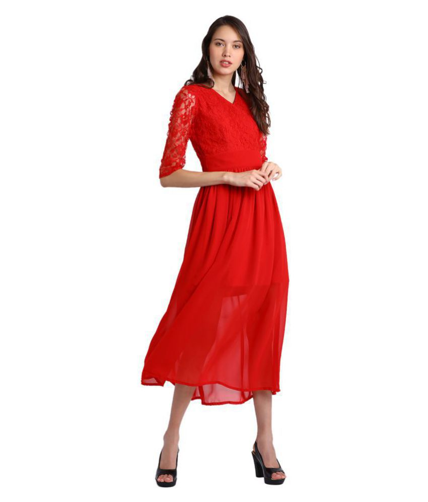 Besiva Polyester Red Fit And Flare Dress