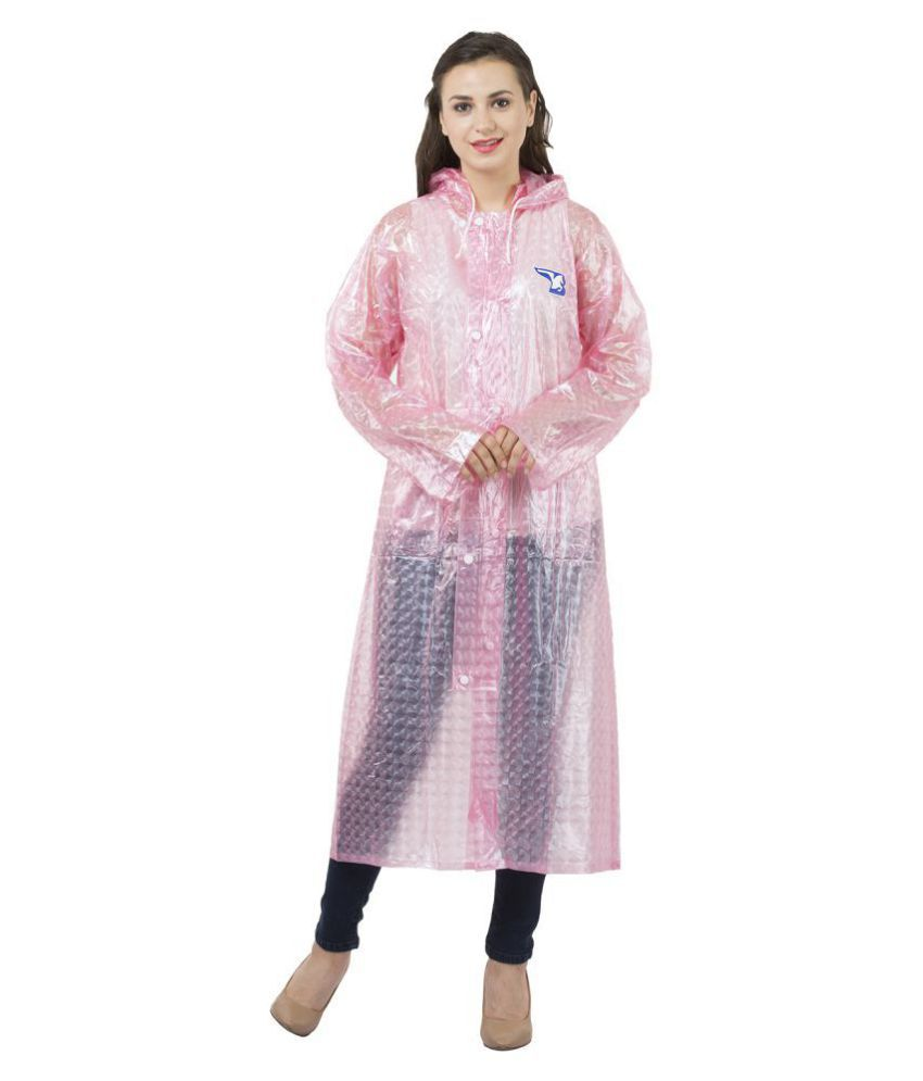 Burdy Polyester Long Raincoat - Pink