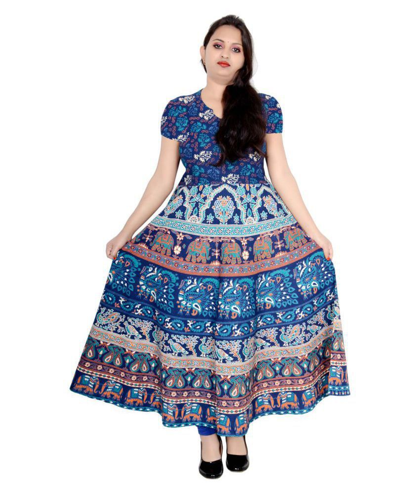 Sttoffa Cotton Turquoise Fit And Flare Dress