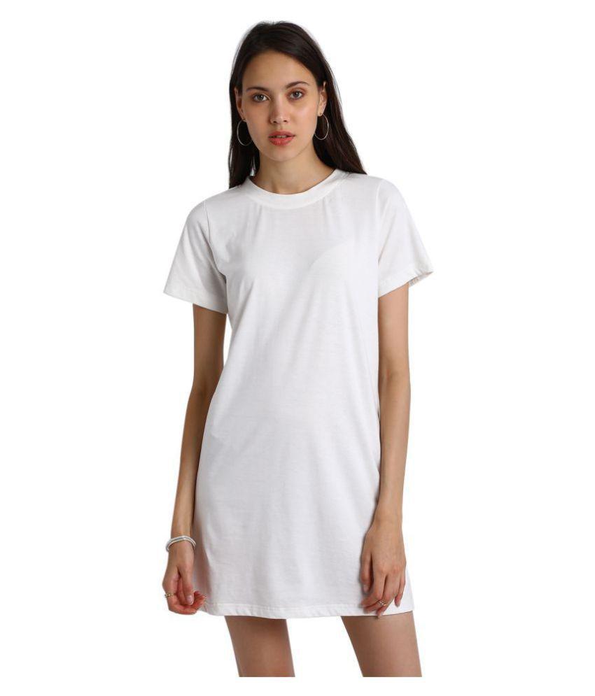 Besiva Cotton White T-shirt Dress