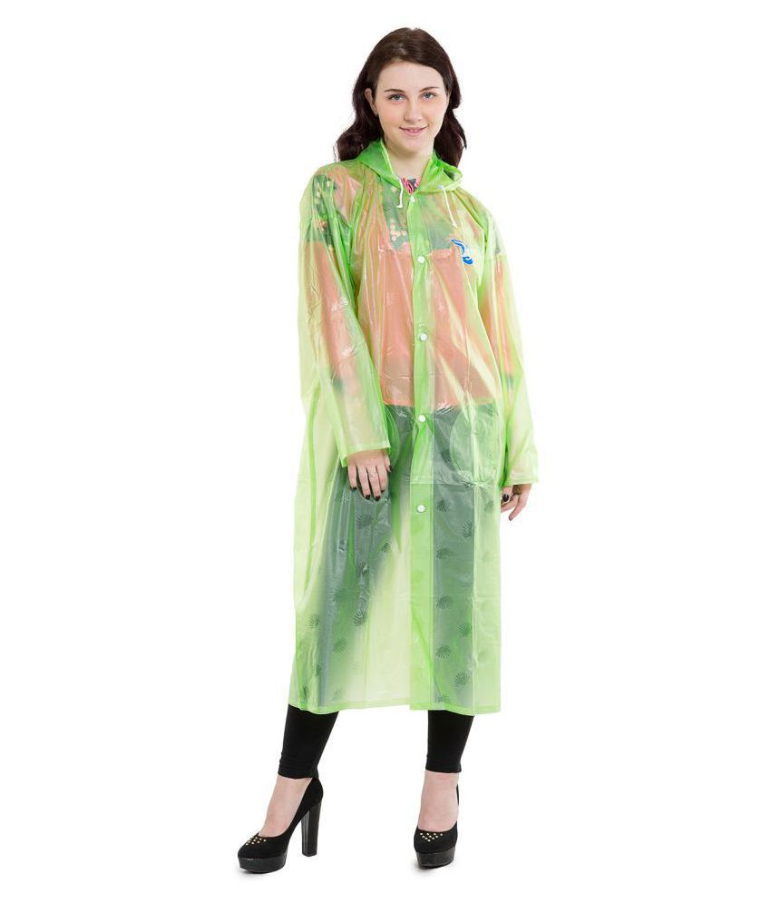 Burdy Polyester Long Raincoat - Green