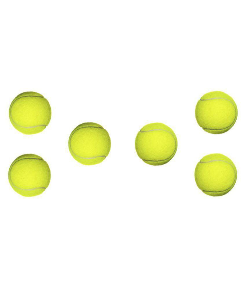 Emm Emm Pack of 6 Pcs Green Yellow Cricket Tennis Balls