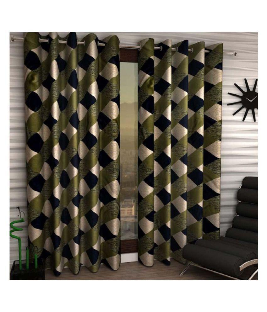 Home Garage Set of 2 Door Semi-Transparent Eyelet Polyester Curtains Green