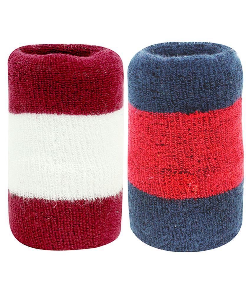 Neska Moda Unisex Pack Of 2 Multicolor Striped Cotton Wrist Band