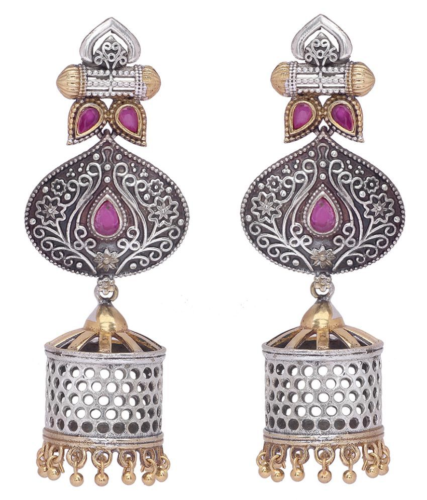 Peora Traditional Silver Golden Finish Fancy Designer Red Stone Oxidised Jhumki Jhumkas Earrings For Women and Girls