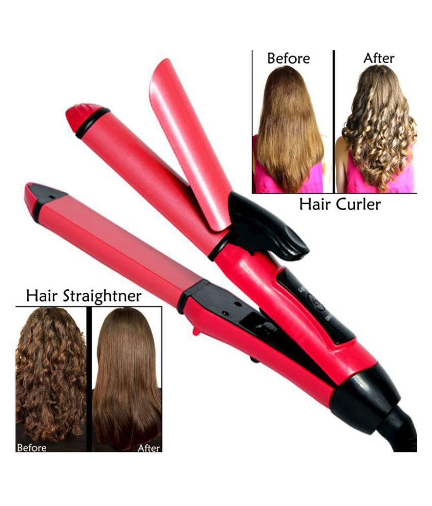Q 2in1Hair Curler Rod Hair Straightener ( Fast Heatup Pink 35W )