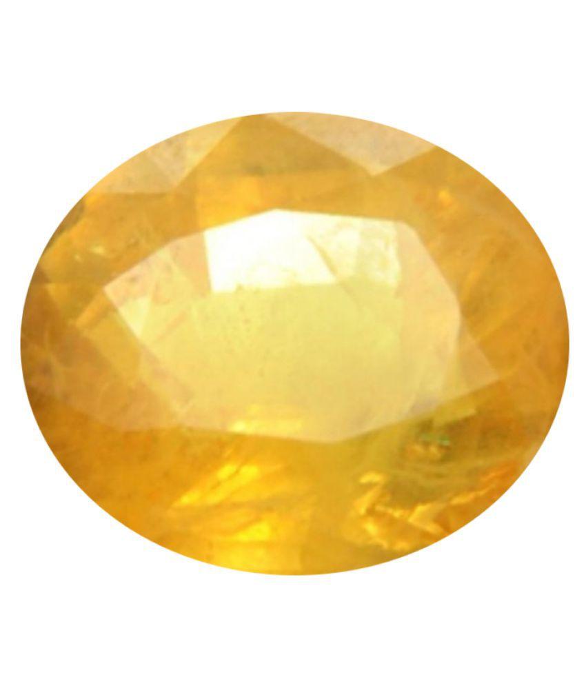 Tejvij And Sons 3.25 -Ratti Self certified Yellow Sapphire Semi-precious Gemstone