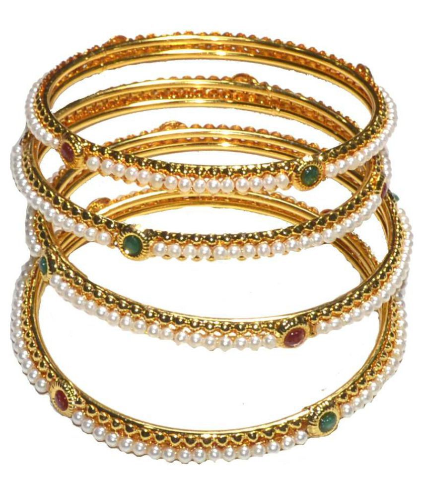 Jewels Kafe 18K Gold Plated Pearl Bangles for Women (Pack of 4)