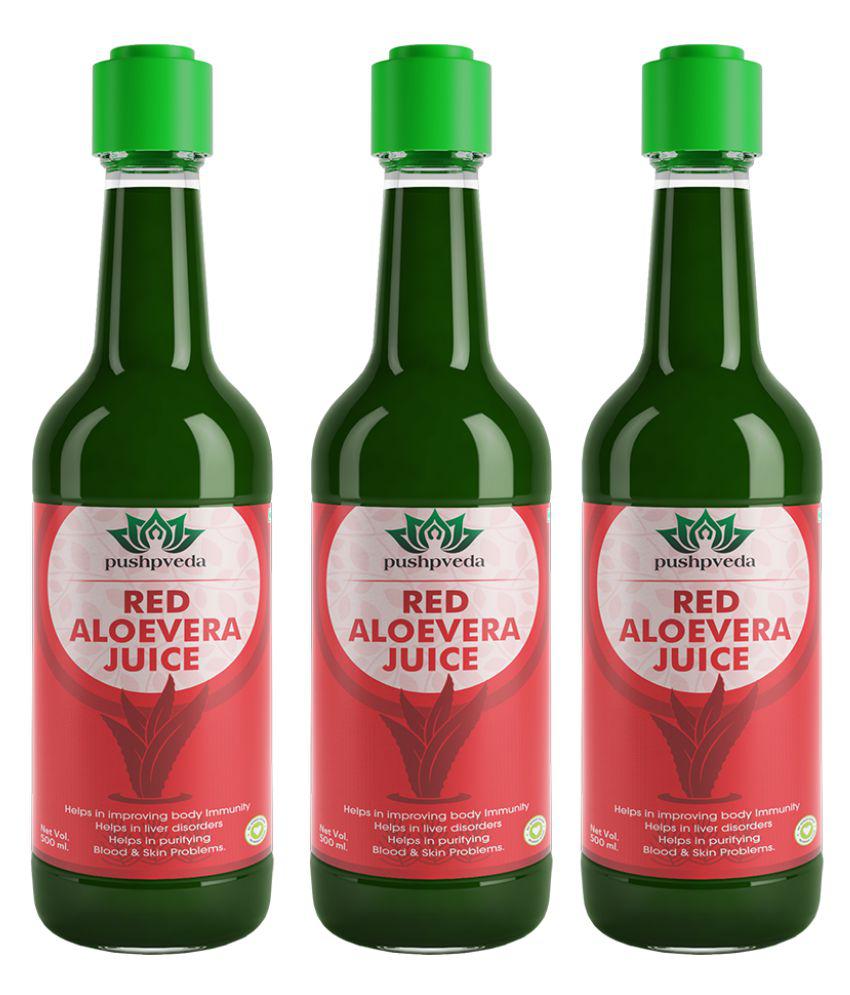 Pushpveda Red Aloevera Juice Health Drink Liquid 1500 ml Unfalvoured Pack of 3