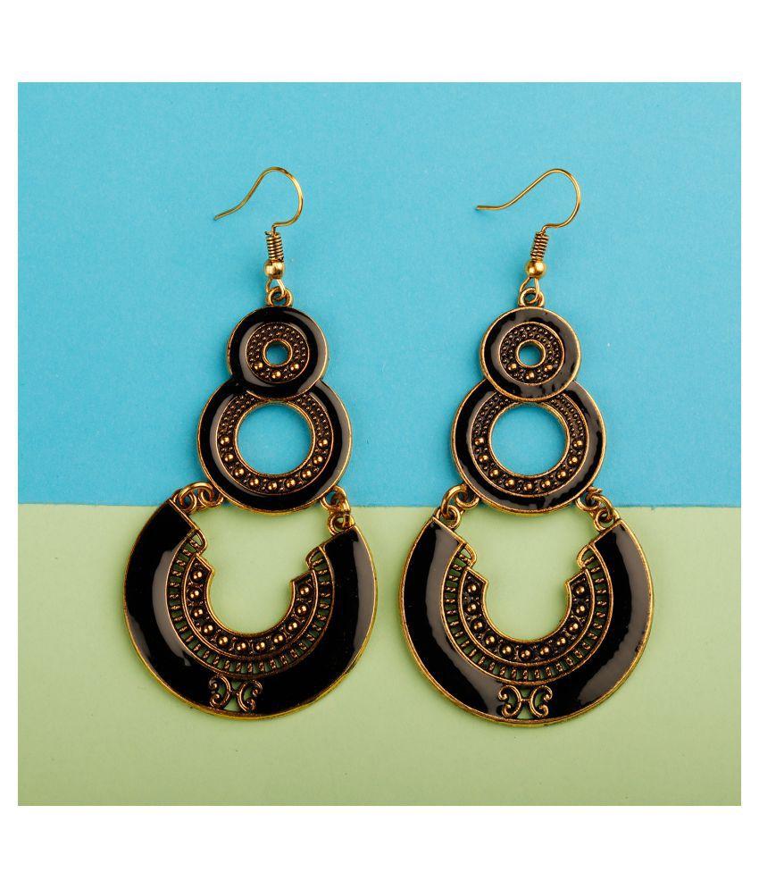 Silver Shine Tantalizing Golden Black Enamel Work Double Dangler Chandbali Earrings for Women