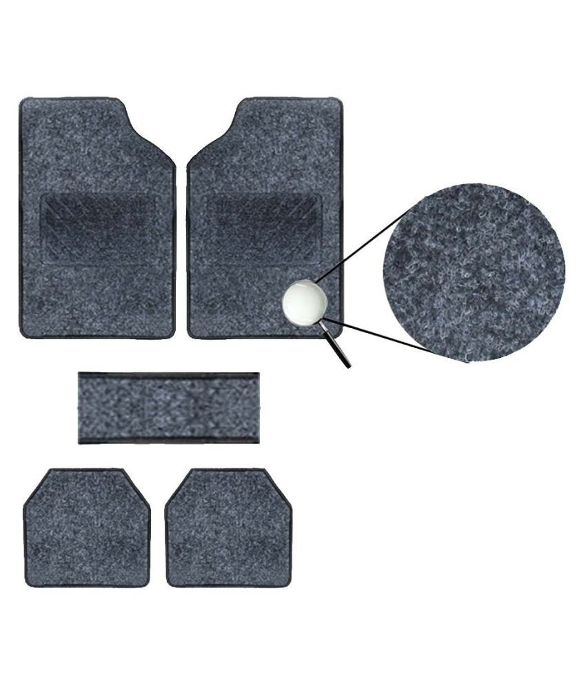Autofetch Carpet Car Floor/Foot Mats (Set of 5) Black for Hyundai Verna Fluidic