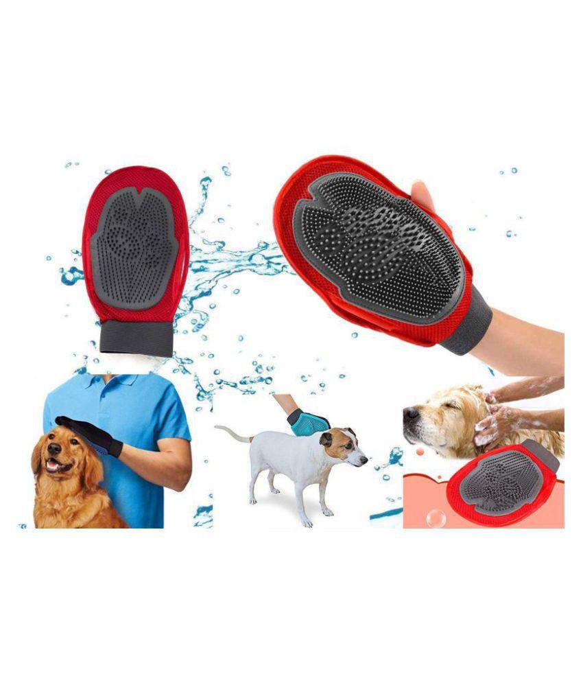 Grooming Mitt Nylon Mesh Pet Brush (Red), Dog Accessories