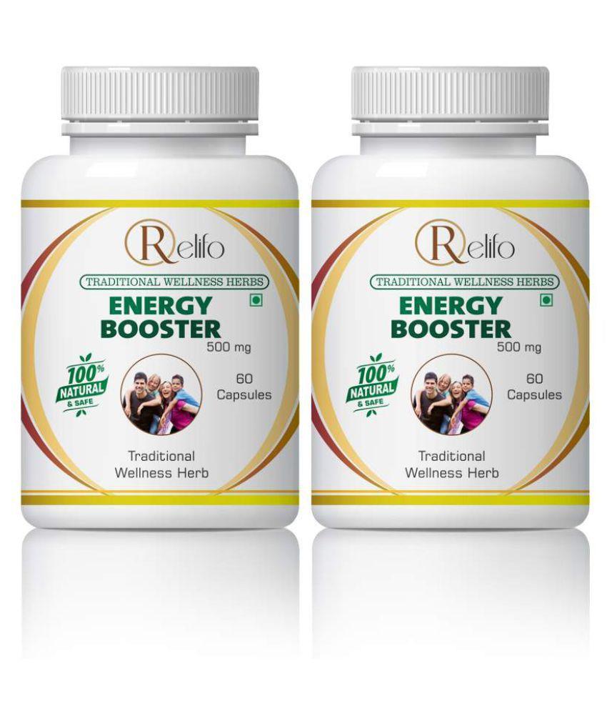 Relifo Energy Booster Alert,Focus&Handle Stress Capsule 500 mg Pack Of 2
